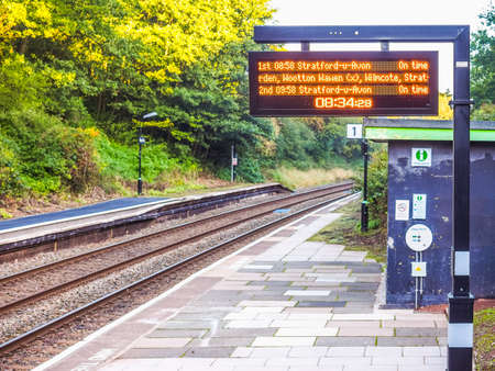 wood railway: TANWORTH IN ARDEN, UK - SEPTEMBER 26, 2015: Wood End railway station on the Stratford upon Avon to Birmingham route known at the Shakespeare Line (HDR) Editorial