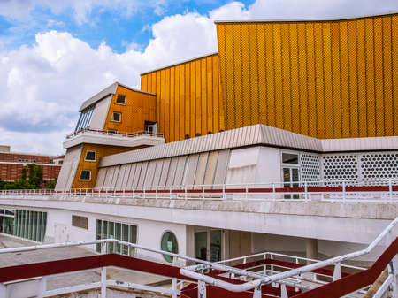 rationalist: BERLIN, GERMANY - MAY 09, 2014: The Berliner Philharmonie concert hall designed by German architect Hans Scharoun in 1961 is a masterpiece of modern architecture (HDR)