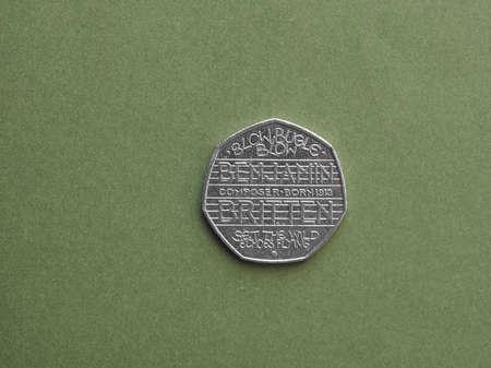 benjamin: LONDON, UK - CIRCA AUGUST 2016: Celebratory 50 pence coin for hundred years anniversary of British composer Benjamin Britten birth