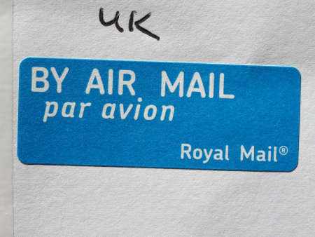 royal mail: LONDON, UK - CIRCA AUGUST 2016: By air mail label used by Royal Mail Editorial