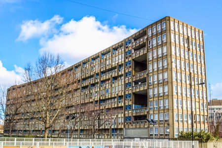 peter the great: LONDON, ENGLAND, UK - MARCH 05, 2009: The Robin Hood Gardens housing estate designed in late sixties by Alison and Peter Smithson is a masterpiece of new brutalist architecture (HDR) Editorial
