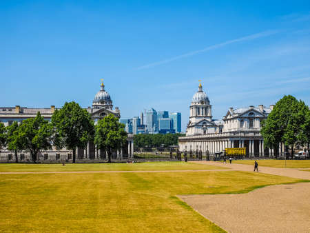 LONDON, UK - JUNE 11, 2015: The Canary Wharf business centre which is the largest business district in the United Kingdom seen from Greenwich park (HDR) Editorial