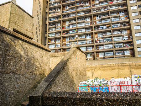 listed: LONDON, ENGLAND, UK - MARCH 05, 2009: The Trellick Tower in North Kensington designed by Erno Goldfinger in 1964 is a Grade II listed masterpiece of new brutalist architecture (HDR) Editorial