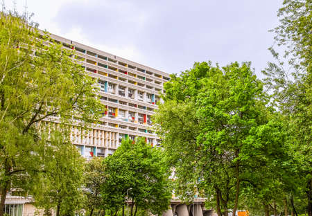 rationalism: BERLIN, GERMANY - MAY 11, 2014: The Corbusier Haus was designed by Le Corbusier in 1957 following his concept of Unite dHabitation (Housing Unit) (HDR)