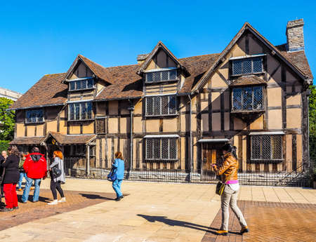 STRATFORD UPON AVON, UK - SEPTEMBER 26, 2015: Tourists in front of William Shakespeare birthplace (HDR)