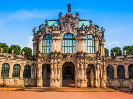 dresden: DRESDEN, GERMANY - JUNE 11, 2014: Dresdner Zwinger palace designed by Poeppelmann in 1710 as orangery and exhibition gallery completed by Gottfried Semper with the addition of Semper Gallery in 1847 (HDR)