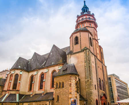 LEIPZIG, GERMANY - JUNE 14, 2014: Nikolaikirch St Nicholas Church in Leipzig Germany where Johann Sebastian Bach performed the world premiere of St John Passion (HDR)