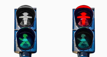 east germany: High dynamic range HDR East Germany Ampelmann traffic lights in Berlin - isolated over white background
