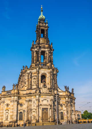 holy trinity: High dynamic range HDR Dresden Cathedral of the Holy Trinity aka Hofkirche Kathedrale Sanctissimae Trinitatis in Dresden Germany Stock Photo