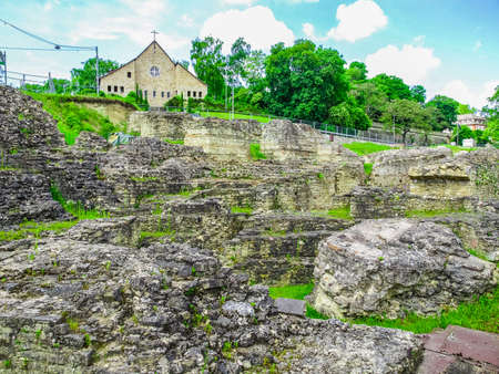 High dynamic range HDR Ruins of the Roemisches Theater roman theatre in Mainz Germany Stock Photo
