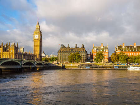westminster bridge: High dynamic range HDR Westminster Bridge panorama with the Houses of Parliament and Big Ben in London UK Editorial