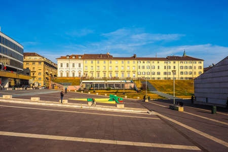 brew house: TURIN, ITALY - DECEMBER 16, 2015: Piazzale Valdo Fusi square with a jazz club, a beer garden, the Museum of Natural History, the Chamber of Commerce (HDR)