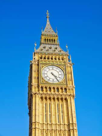 hdr background: High dynamic range HDR Big Ben Houses of Parliament Westminster Palace London gothic architecture - over blue sky background Stock Photo