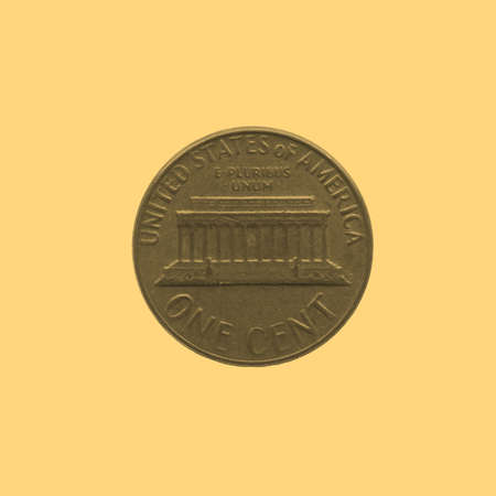 cent: One Cent coin isolated - vintage sepia look Stock Photo