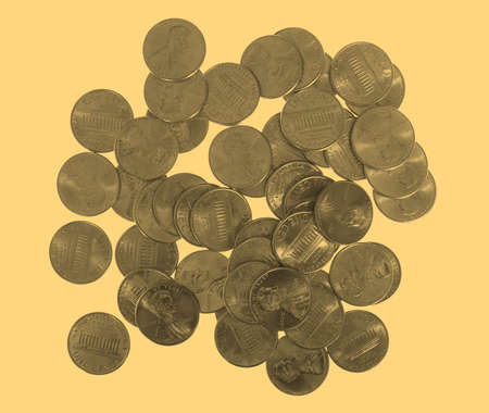 penny: Dollar coin 1 cent wheat penny currency of the United States isolated - vintage sepia look