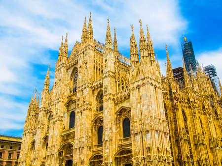 High dynamic range HDR Duomo di Milano meaning Milan Cathedral in Italy, with blue sky