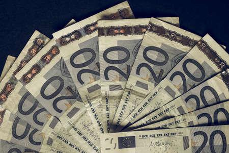 Vintage looking Twenty Euro banknotes currency of Europe