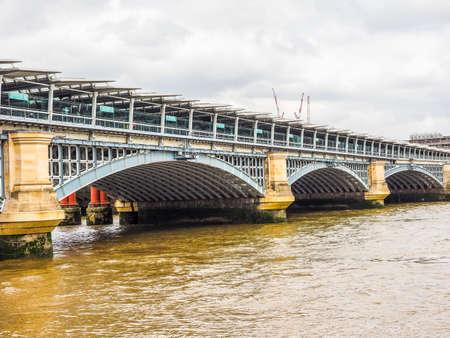 High dynamic range HDR Blackfriars Bridge over River Thames in London, UK