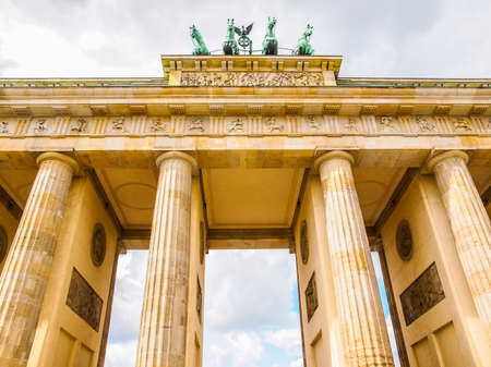 High dynamic range HDR Brandenburger Tor Brandenburg Gate famous landmark in Berlin Germany Stock Photo