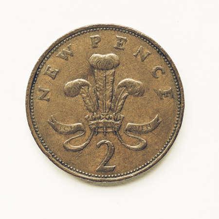 Währung Des Vereinigten Königreichs 2 Pence Münze Lizenzfreie Fotos