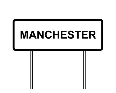 manchester: United Kingdom town sign illustration, city of Manchester