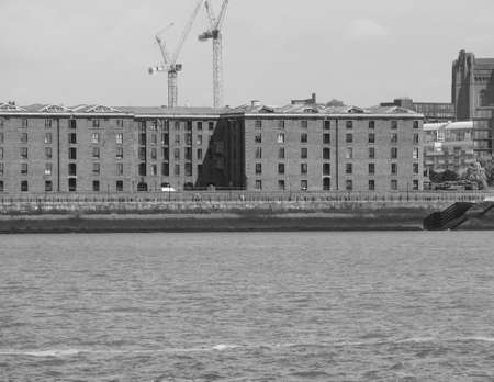 lancashire: The Albert Dock complex of dock buildings and warehouses in Liverpool, UK in black and white