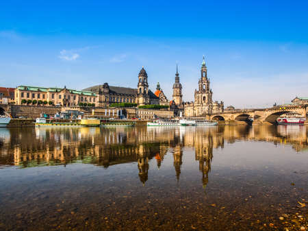 dresden: High dynamic range HDR Dresden Cathedral of the Holy Trinity aka Hofkirche Kathedrale Sanctissimae Trinitatis in Dresden Germany seen from the Elbe river Stock Photo
