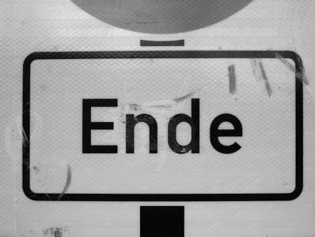 ende: Ende (meaning End) sign in Berlin, Germany in black and white