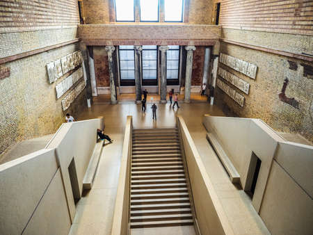BERLIN, GERMANY - CIRCA JUNE 2016: Tourists visiting the Neues Museum meaning New Museum in Museumsinsel in Berlin Germany (HDR)
