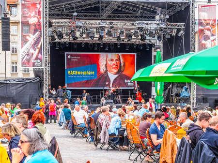 bier festival: LEIPZIG, GERMANY - JUNE 14, 2014: People at the Bachfest annual summer music festival celebrating baroque musician Johann Sebastian Bach in his town (HDR)