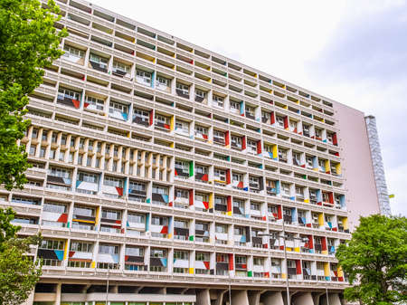 unite: BERLIN, GERMANY - MAY 11, 2014: The Corbusier Haus was designed by Le Corbusier in 1957 following his concept of Unite dHabitation (Housing Unit) (HDR)