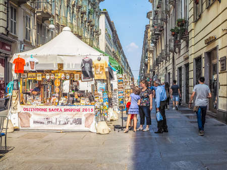 shroud: TURIN, ITALY - JUNE 19, 2015: People visiting the city during the Holy Shroud exposition (HDR)