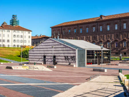 brew house: TURIN, ITALY - OCTOBER 22, 2014: Piazzale Valdo Fusi is a large central square with a jazz club, a beer garden, the Museum of Natural History, the Chamber of Commerce (HDR) Editorial