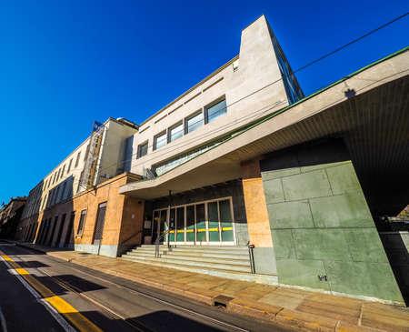 TURIN, ITALY - CIRCA MARCH 2016: Auditorium RAI music hall designed by architect Carlo Mollino in 1958 dedicated to music director Arturo Toscanini (HDR)