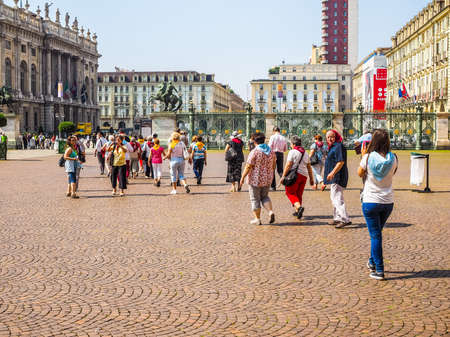 shroud: TURIN, ITALY - JUNE 19, 2015: People visiting the city centre during the Holy Shroud exhibition (HDR)