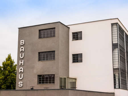 listed: DESSAU, GERMANY - JUNE 13, 2014: The Bauhaus art school iconic building designed by architect Walter Gropius in 1925 is a listed masterpiece of modern architecture (HDR) Editorial
