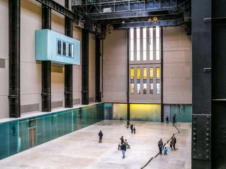LONDON, UK - CIRCA MARCH, 2008: The Turbine Hall which once housed the electricity generators of the power station is now a huge open public space part of Tate Modern art gallery in South Bank (HDR)
