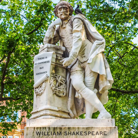 LONDON, UK - CIRCA JUNE 2015: Statue of William Shakespeare built in 1874 in Leicester Square in London (HDR) Editorial