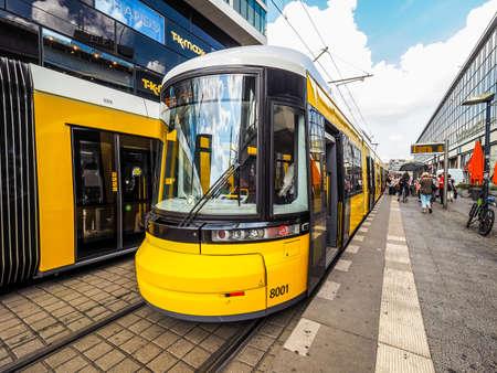 BERLIN, GERMANY - CIRCA JUNE 2016: Tramway public transport in Alexanderplatz (HDR)