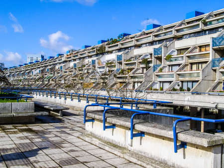 public housing: LONDON, ENGLAND, UK - MARCH 07, 2008: The Alexandra Road estate designed in 1968 by Neave Brown applies the terraced house model to high-density public housing is a masterpiece of new brutalist architecture (HDR)