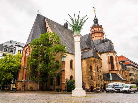performed: LEIPZIG, GERMANY - JUNE 14, 2014: Nikolaikirch St Nicholas Church in Leipzig Germany where Johann Sebastian Bach performed the world premiere of St John Passion (HDR)