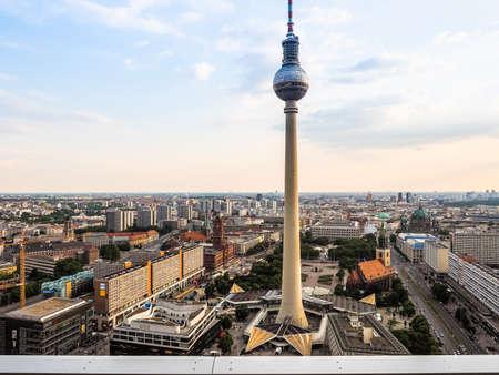 republik: BERLIN, GERMANY - CIRCA JUNE 2016: Fernsehturm (meaning Television tower) in Alexanderplatz (HDR)