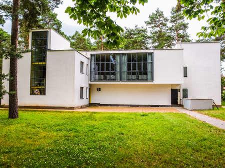 kandinsky: DESSAU, GERMANY - JUNE 13, 2014: Bauhaus masters houses designed in 1925 for Walter Gropius, Laszlo Moholy Nagy, Lyonel Feininger, Georg Muche, Oskar Schlemmer, Wassily Kandinsky and Paul Klee (HDR)