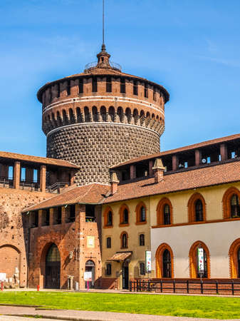 sforza: MILAN, ITALY - APRIL 10, 2014: People visiting the Sforza Castle aka Castello Sforzesco which is the oldest castle in town (HDR)