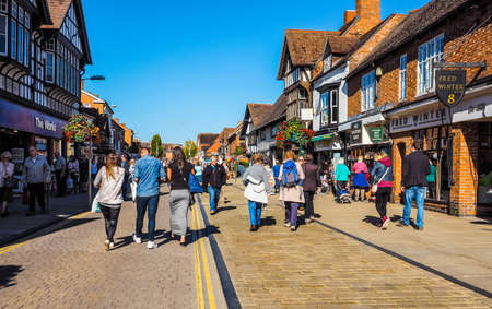 birthplace: STRATFORD UPON AVON, UK - SEPTEMBER 26, 2015: Tourists visiting the city of Stratford, birthplace of William Shakespeare (HDR)