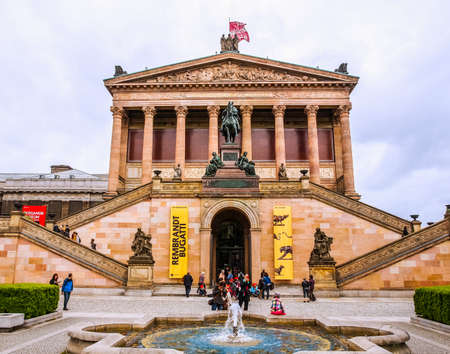 alte: BERLIN, GERMANY - MAY 09, 2014: People visiting the Alte Nationalgalerie museum in Berlin Germany (HDR)