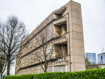 late sixties: LONDON, ENGLAND, UK - MARCH 05, 2009: The Robin Hood Gardens housing estate designed in late sixties by Alison and Peter Smithson is a masterpiece of new brutalist architecture (HDR) Editorial