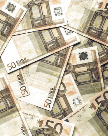 50 euro: Vintage looking Range of 50 Euro banknotes useful as a background Stock Photo
