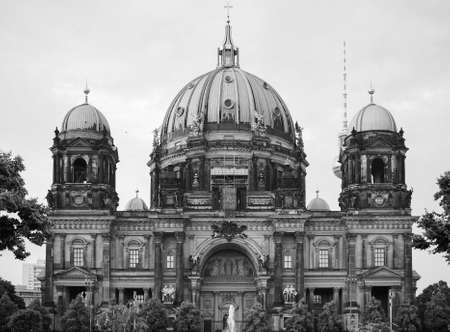 dom: Berliner Dom meaning Berlin Cathedral church in Berlin, Germany in black and white