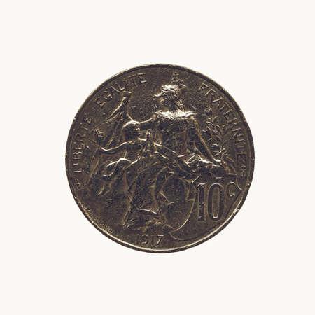 Alte Französisch Münze Aus Frankreich Isoliert über Weiß Lizenzfreie